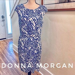 Donna Morgan Blue & White Ikat Dress Size 12
